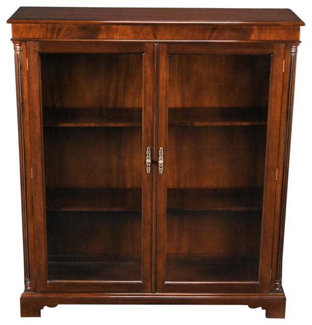 Mahogany 2-Door Bookcase.
