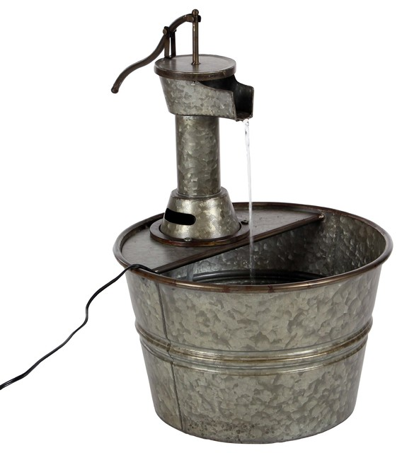 Vintage Style Galvanized Metal Water Pump And Pail Indoor