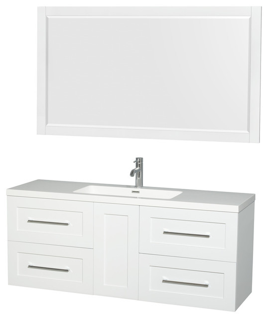 Olivia 60 Vanity, 58 Mirror Acrylic-Resin Top, Integrated Sink, Glossy White by Wyndham Collection