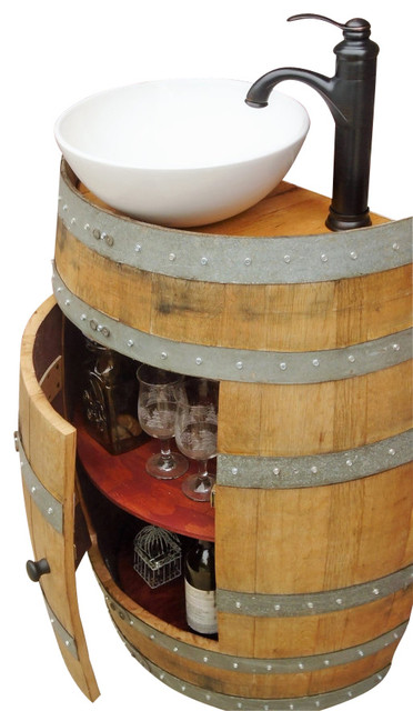 French Oak Wine Barrel Vanity Table With White Ceramic Sink