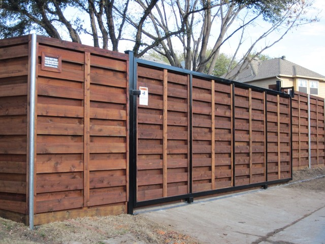 Stained Horizontal Cedar Sliding Gate Dallas By Texas