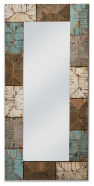 Rectangular Geometric Decorative Wall Mirror.