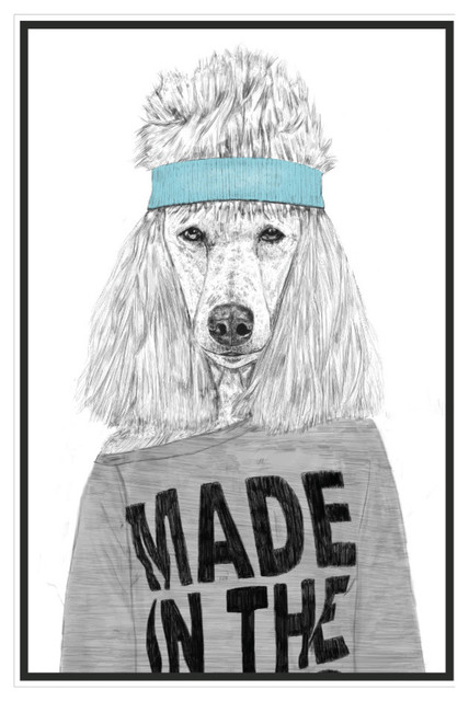 Standard Poodle Wall Decal - 80s Girl Animal Art by Balazs Solti ...