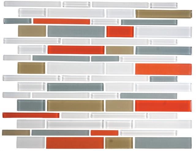 12 X12 Orange Gray Olive Green And White Linear Gl Tile Mix Full