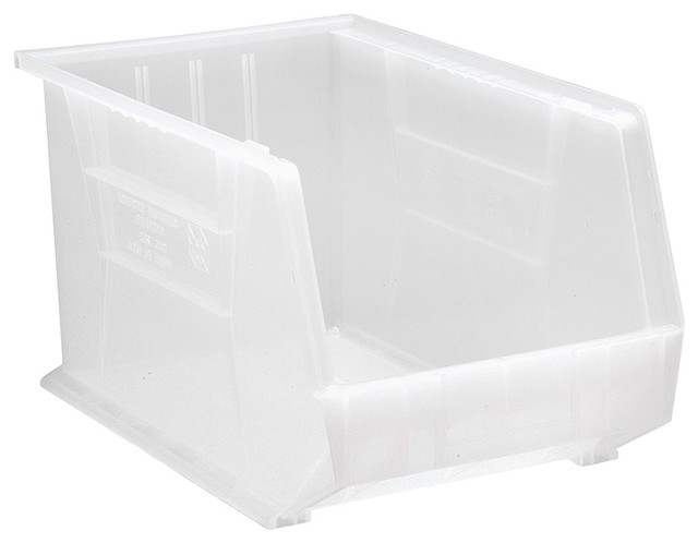 "Quantum Plastic Storage Clear-View Ultra Hang And Stack Bin 18""11""10"", 4-Pack."