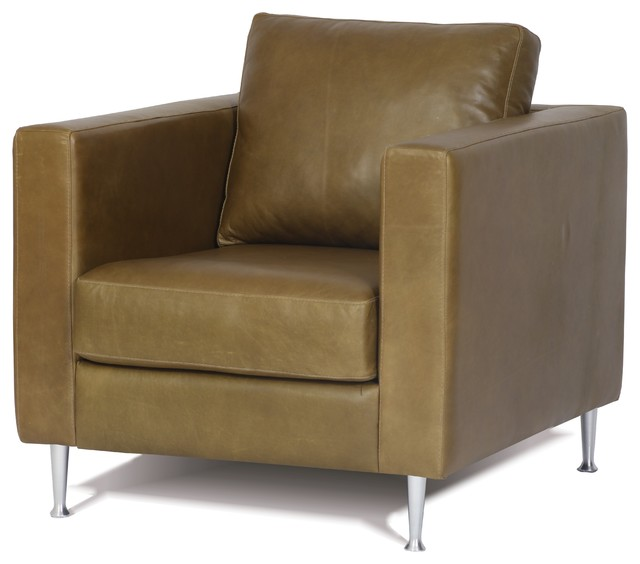 Modern Contemporary Genuine Leather Chair With Metal Legs