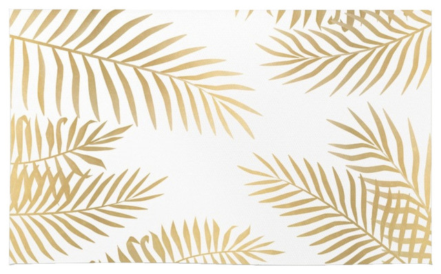 Society6 Gold Palm Leaves Rug Tropical Area Rugs By