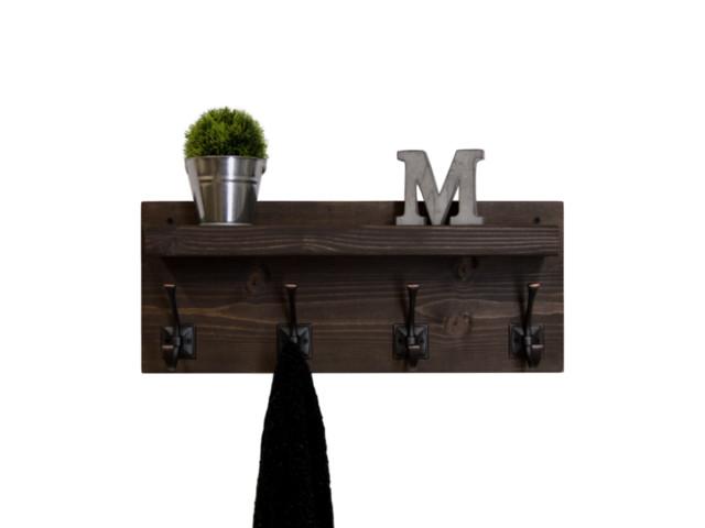 "Rustic Floating Shelf Coat Rack, Espresso/aged Bronze Hooks, 22"" Wide 4-Hooks."