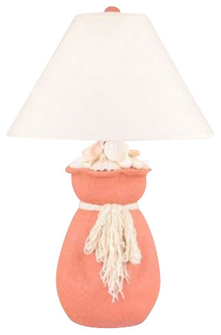 Great Burlap Sack Of Shells In Coral Table Lamp Beach Style Table Lamps