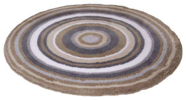 Taupe Round Non Slip Washable Bathroom Rug Mandala Medium