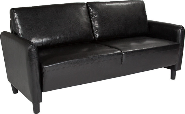 Contemporary Sofa Black Leather Finish Midcentury Sofas By