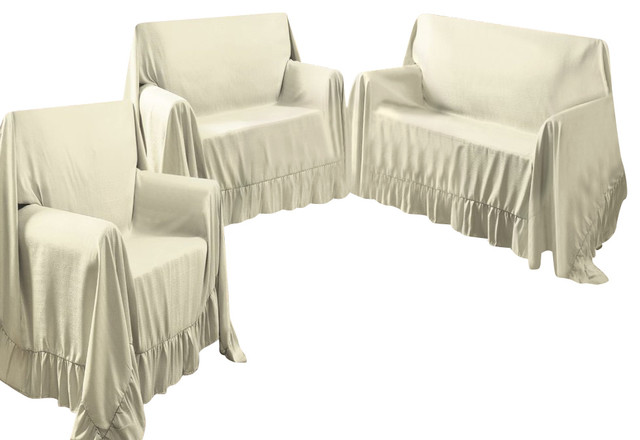 Venice Home 3 Piece Sofa Loveseat Chair Protector Throw Cover Set Ivory