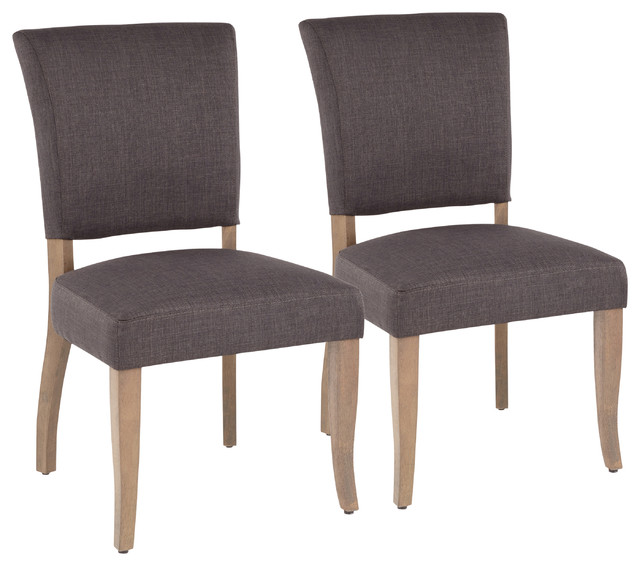 LumiSource Rita Dining Chair, Ash Brown Wooden Legs and Gray, Set of 2