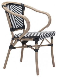 Zuo Modern Contemporary Black White Paris 703802 Dining Arm Chair Outdoor