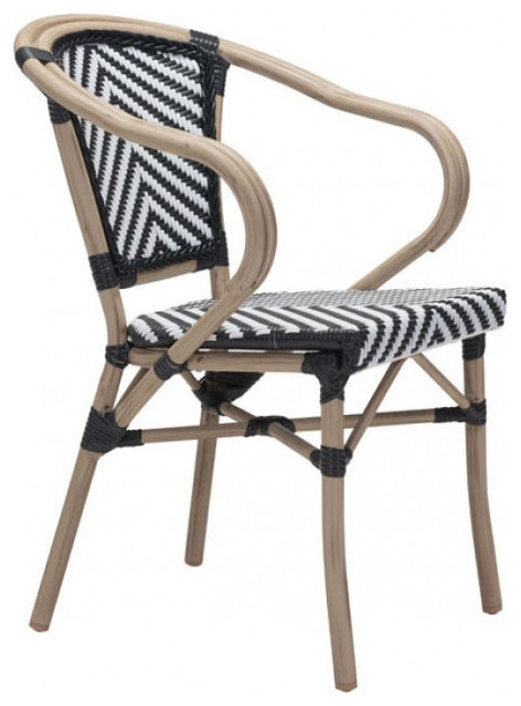 Zuo Modern Black U0026 White Paris 703802 Dining Arm Chair Tropical Outdoor  Dining