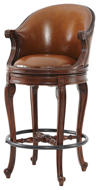 Louis Xv Carved Leather Upholstered Swivel Bar Stool