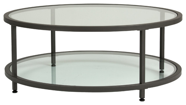 Camber Round Coffee Table Pewter And Clear Glass Modern Coffee - Pewter glass coffee table