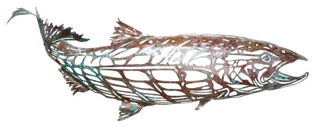 Copper Salmon Sculpture.
