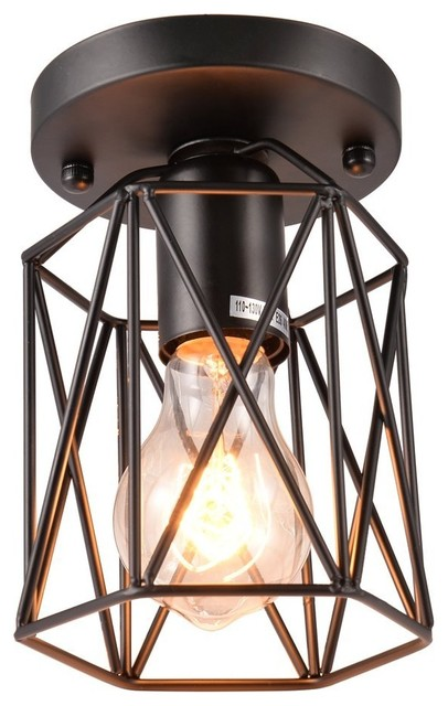 1-Light Metal Square Chandelier With Cage Flush Mount Ceiling Lamp Light Fixture.