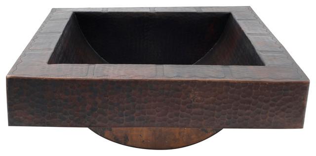 "17"" Square Apron Hammered Copper Bathroom Sink"