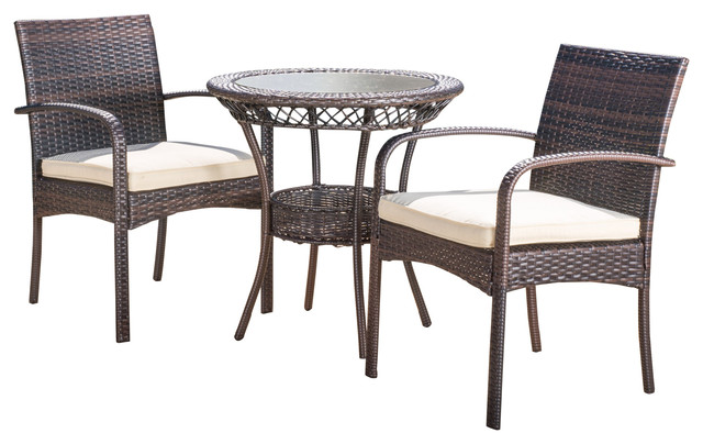 Meeker Outdoor Wicker Bistro With Cushions 3-Piece Set - Tropical ...