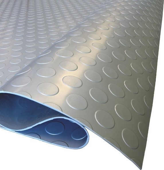 Coin Pattern Nitro Garage Flooring Rolls Floor Mats, Stainless Steel, 7.5&x27;x17&x27;.