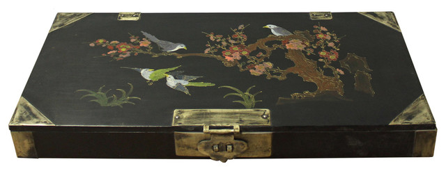 Consigned, Chinese Black Lacquer Flower Bird Graphic Rectangular Display Box