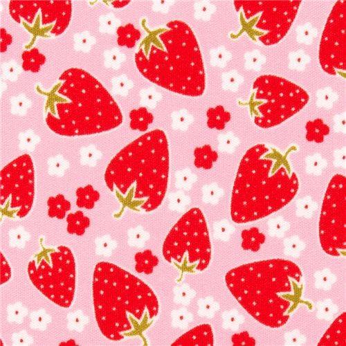 pink Michael Miller Polyurethane laminate fabric strawberry