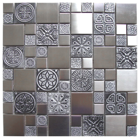 Kitchen Tiles Samples roman pattern stainless steel and pewter accents tile - mosaic