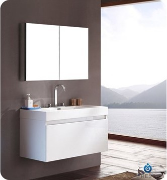 Mezzo Modern Bathroom Vanity With Medicine Cabinet, White.