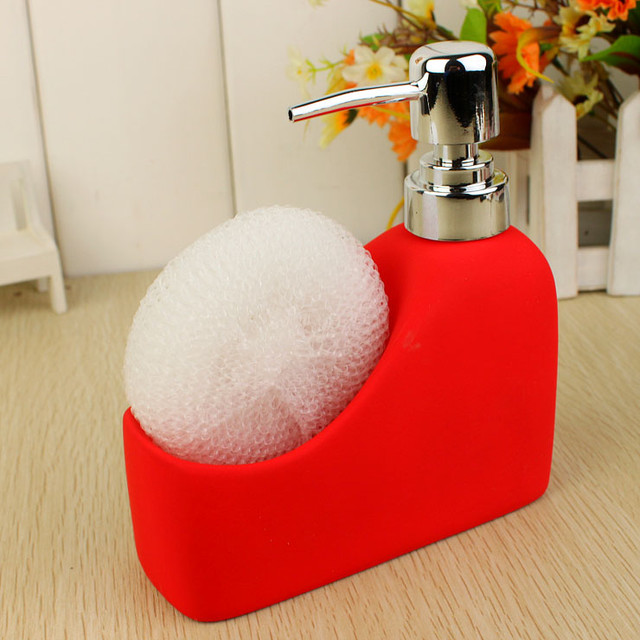 Ceramic bath liquid soap dispencer red bottle modern for Red bathroom accessories