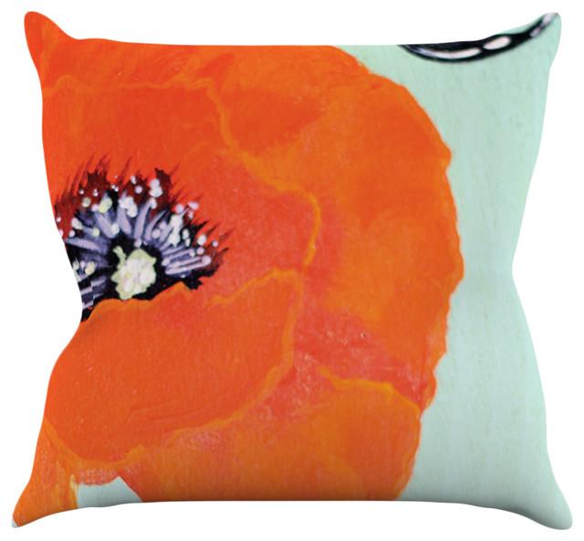 Christen Treat Vintage Poppy Orange Flower Throw Pillow Extraordinary Poppy Decorative Pillows