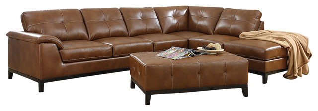 Emerald Home Marquis 2 Piece Sectional With 6 Seats, Chestnut Traditional  Sectional