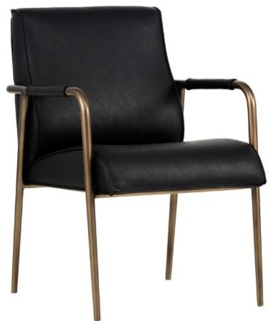 Leather Armchair With Steel Frame, Rustic Bronze ...