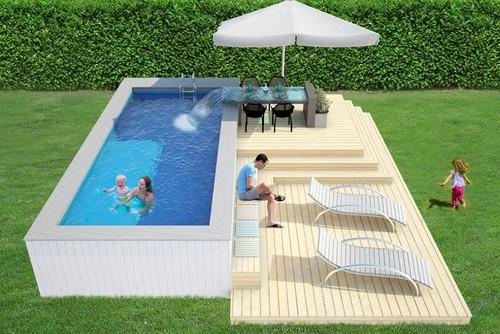 Piscina e tavolo cascata - Piscine fuori terra con solarium ...