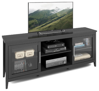 """CorLiving Jackson Extra Wide Black Wood Grain TV Bench, For TVs up to 80"""""""