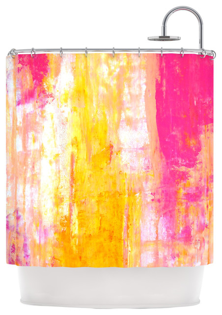 Carollynn Tice Growing Taller Pink Yellow Shower Curtain Contemporary Shower Curtains By