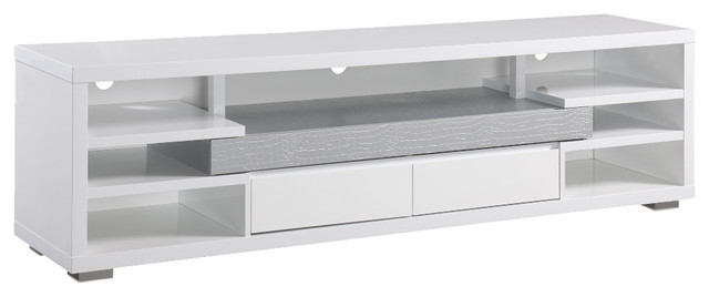 Floyd Modern Faux Crocodile Leatherette 70 Tv Console White And Silver
