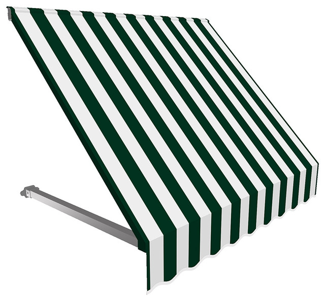 8&x27; Dallas Retro Window/entry Awning, Forest Green/white.