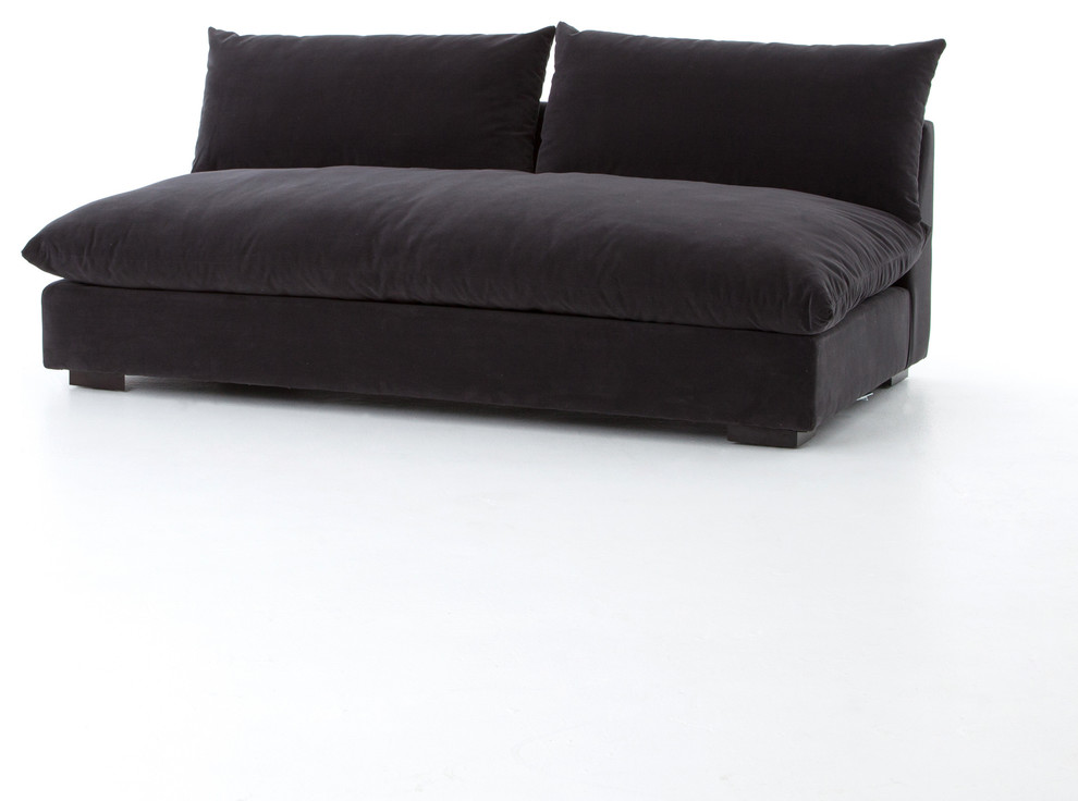 72 L Maica Armless Sofa Henry Charcoal