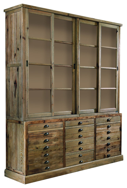 Arnica Aged Pine Display Cabinet Country Pantry