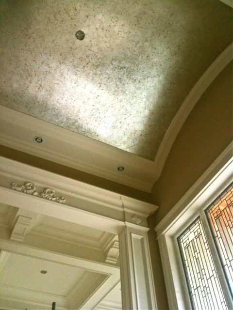 Vaulted Ceiling With Silver Leaf Crackle Finish Over Gold Traditional Vancouver By