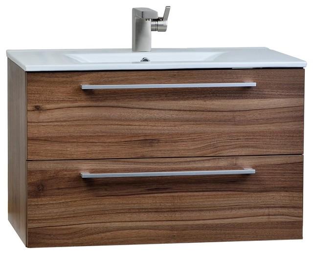 Caen Wall Mounted Bathroom Vanity Walnut Contemporary