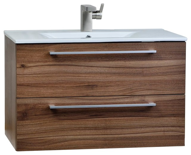 "Cbi Caen 32"" Wall-Mount Modern Bathroom Vanity Set Walnut."