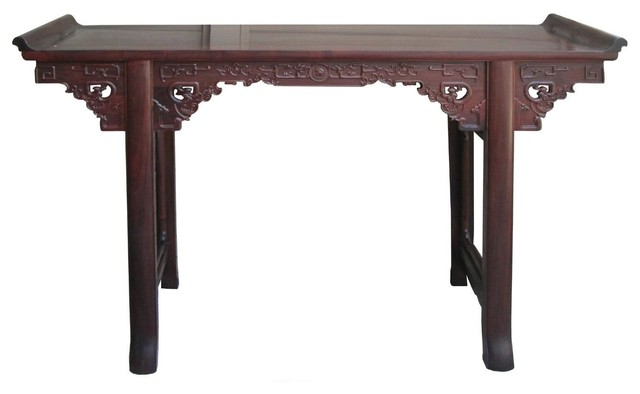 Wonderful Chinese Suan Zhi Rosewood Dragon Carving Altar Table Desk Asian Console  Tables