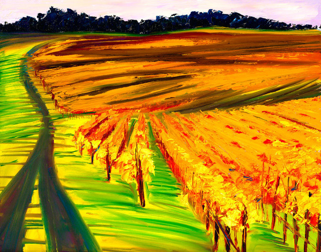 """Bring home the Sonoma Coast with """"Dusk Over Vines"""" by Ann Rea, oil painting"""