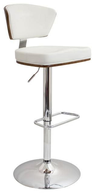 Lumisource Ravinia Modern Adjustable Barstool, Walnut Wood and White PU
