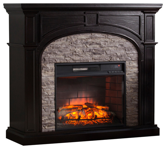 Burnham Infrared Electric Fireplace, Ebony With Gray Stone.