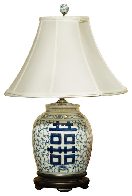 China furniture and arts blue and white double happiness blue and white double happiness porcelain lamp asian table lamps mozeypictures Images