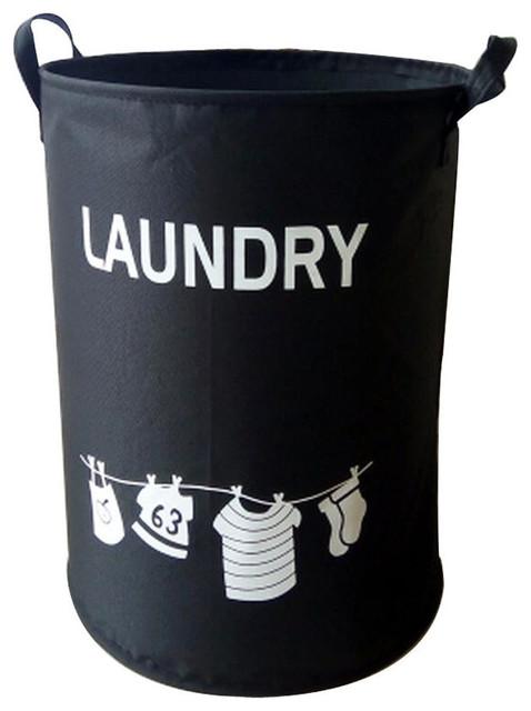 Polyester Home Laundry Basket, Clothes Hamper Storage Toy, Organizer, Black